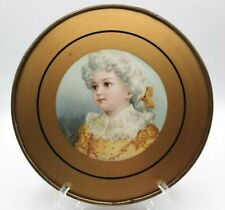 Antique Glass Flue Cover with Chain Round Lithograph Victorian Child