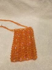 Beaded Small Purse/with BEADED SHOULDER STRAP...Stunning Orange(b-104)