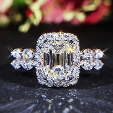 Gorgeous Double Band Clear Crystal Emerald Cut White Gold Filled Engagement Ring