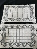 Antique 1950's Sardina Genuine Lacis Filet Knotted Lace Tray TableCloth Placemat