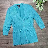Ann Taylor Women's Size Small Teal Cardigan Sweater Cinched Waist wool blend