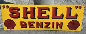 XXL grosses Emailschild Shell Benzin 90 cm x 30 cm