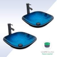 2 PCS Bathroom Blue Square Glass Vessel Sink Combo ORB Faucet W/ Pop Up Drain