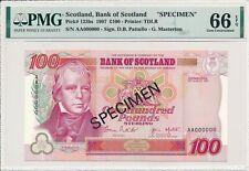 Bank of Scotland Scotland  100 Pounds 1997 Specimen PMG  66EPQ