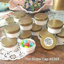 20 White Plastic Polyprop JARS 1 ounce GOLD Caps Container 5303 DecoJars USA