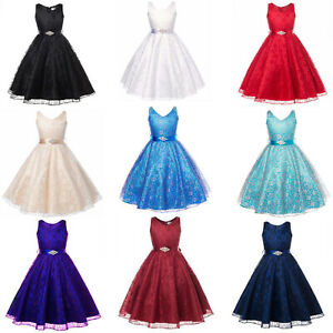 Princess Girls Bridesmaid Lace Dress Baby Kid Party Pageant Wedding Dresses Prom