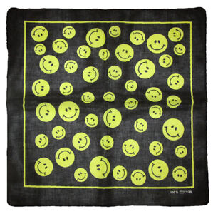 "22""x22"" Black With Smiley Faces 100% Cotton Bandana"