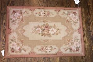 Marcella Wool Needlepoint Floral Oak Prince Albert Rug 2x3 platinum aubusson