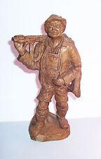 Geschnitzte Lindenholz Figur Jäger Waidmann Wilddieb Wilderer vor 1945 !