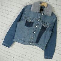 Buffalo David Bitton Denim Jacket Womens Large Faux Fur Trim MSRP $129