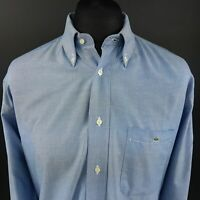 Lacoste Mens Vintage OXFORD SHIRT 2XL Long Sleeve Blue Regular Fit Cotton