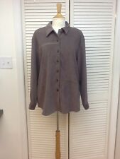 LS Faux Suede Button Down Long Overshirt, Size 16, Monterey Koret, NICE!
