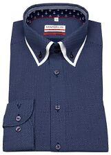 Marvelis Hemd Modern Fit unterlegter Button Down Kragen dunkelblau 7322 54 14