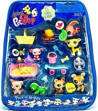 New Hasbro Littlest Pet Shop | 10-Pack Pets in Carry Case | Dog Cat | RARE LPS