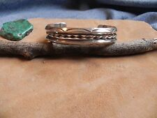 Stamped Sterling Silver & Twisted Rope Cuff Bracelet Navajo