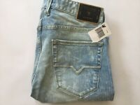 Guess Men's Slim Tapered Jeans Light Blue Bleached Denim Size 32