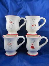 Lot of 4 Williams Sonoma Chef Snowman Coffee/Hot Chocolate Cocoa Cup/Mug Red Rim