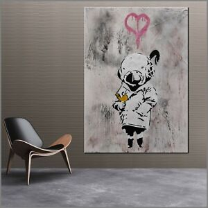 Banksy Huge Graffiti Cute Tank Girl Street Art 160cm x 100cm Textured Painting