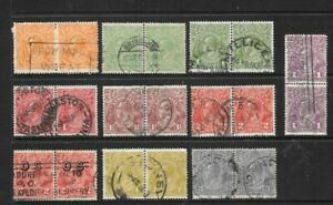 Stamps Australia KGV  Heads Pairs Selection x 10 Good Used/Fine Used 1/2d to 4d