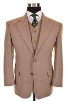 VTG James Edmond Brown Hopsack TWEED Wool 3pc Suit Jacket Pants Vest 38 / 39 S
