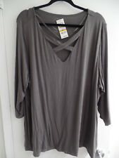 INC International Concepts Plus Size Cutout Scoop Neckline Shirt Grey Knight 3X