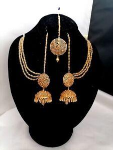 Indian Pakistani Ethnic Gold plated Earrings big jhumka, Ear Chain Sahara & Tika