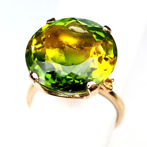 AMETRINE GREEN YELLOW ROUND 19.20 CT. 925 STERLING SILVER ROSE GOLD RING SZ 8.25