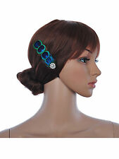 UK1920's Flapper  Peacock feather Diamante  Flower Clip Fascinator Hairdress Wed