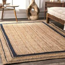 Bohemian Floor Mat Home Living Dhurrie  Blue Rectangle Jute Boho Area Rug