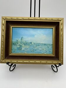 Small Framed Print View Of London Thames Canaletto Blue Vintage Gold Frame