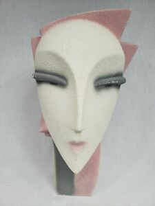 """Vintage Head Bust Lindsey B Balkweill Style Pink Pearly 12½"""" Art Deco 80's"""