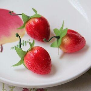 10pcs Artificial Strawberry Ornament Faux Fruit Party Wedding Home Decor 40*35mm