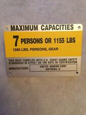 United Marine Corp Boat Capacity Plate~Tag~7 Person or 1155 Lbs~Renken