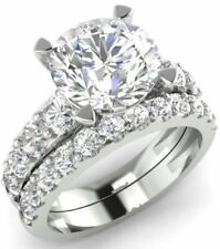 Ring Solid 14K White Gold Zyj Certified 4.00Ct Round Diamond Engagement Wedding