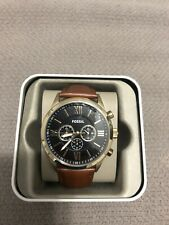 Fossil Brown Leather Strap Black Dial Chronograph BQ2261 Mens Watch New In Box