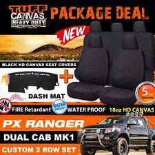 TUFF HD CANVAS FORD PX RANGER Dual Cab Seat Covers 2ROW+ DASH MAT 2011-5/2015 BL