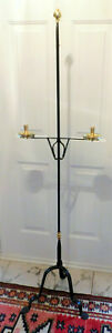 VERY RARE WILLIAMSBURG DEAN FORGE HANDMADE BRASS AND IRON FLOOR CANDLESTAND