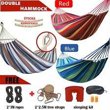 Double Hammock Travel Camping Chair Swing Beach Bed Rope Straps Gardern Outdoor