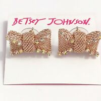 NWT Betsey Johnson NOT YOUR BABE Rose Gold Tone Crystals Mesh Bow Earrings~CUTE!
