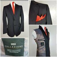 M&S Collezione jacket blazer 40L Navy blue pinstripe Wool rich WORN ONCE £80
