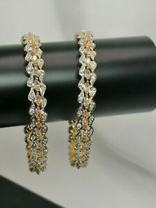 2 Gold Kara Bangles With White And Champagne American Diamond Stones Size 2.6