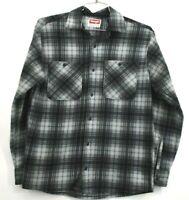 Wrangler Mens Small Fleece Flannel Button Up Long Sleeve Gray Plaid Thick Shirt
