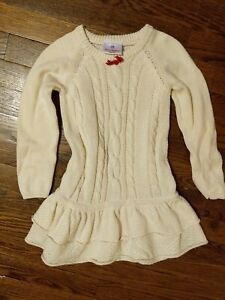 Girl, Hanna Andersson Size 4/5 (100) Off White Cotton, Merino Wool Sweater Dress