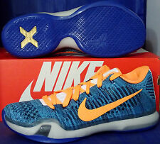timeless design e305a 7da40 Nike Kobe X 10 Elite Niedrig Flyknit Identifikation Blau Orange Knicks  Gators