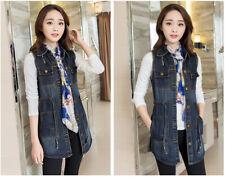 Women's Cowboy Vest Denim Jacket Sleeveless Slim Jeans Waistcoat Mid Long Coat