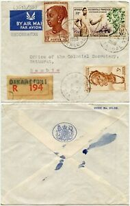 AOF SENEGAL GAMBIA 1958 REGISTERED OFFICIAL BRITISH CONSULATE ENVELOPE AIRMAIL