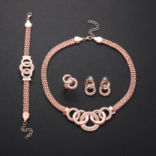 Fashion Rose Gold Necklace Earring Ring Bracelet Women Wedding Jewelry Set Gifts
