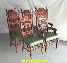Antique Oak Match Set Dining Chairs – Set of eight - Tall Backs Fancy Chairs