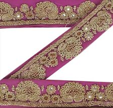 Vintage Sari Border Antique Hand Beaded 1 YD Indian Trim Décor Ribbon Pink Lace