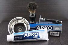 5PC Luxury Wet Shaving Gift Set Kit Double Edge Safety Razor Badger Brush Extra